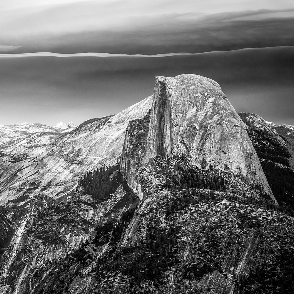 Black and White view of Half Dome from Glacier  Point in Yosemite National Park